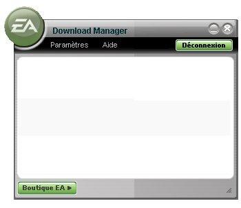 Copie d'écran du download manager d'EA.
