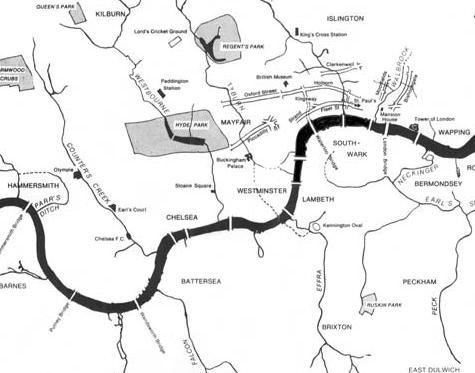 carte des rivieres coulant à Londres