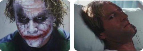 Images tirées du film : le Joker et Two-Face.